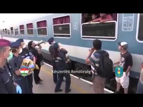 Immigrants rejecting water on Hungary trainstation September 4th 2015