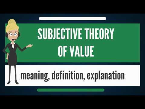 What is SUBJECTIVE THEORY OF VALUE? What does SUBJECTIVE THEORY OF VALUE mean?