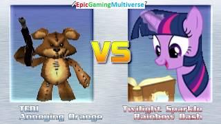 Tedi The Robotic Teddy Bear And Annoying Orange VS Twilight Sparkle & Rainbow Dash In A MUGEN Match