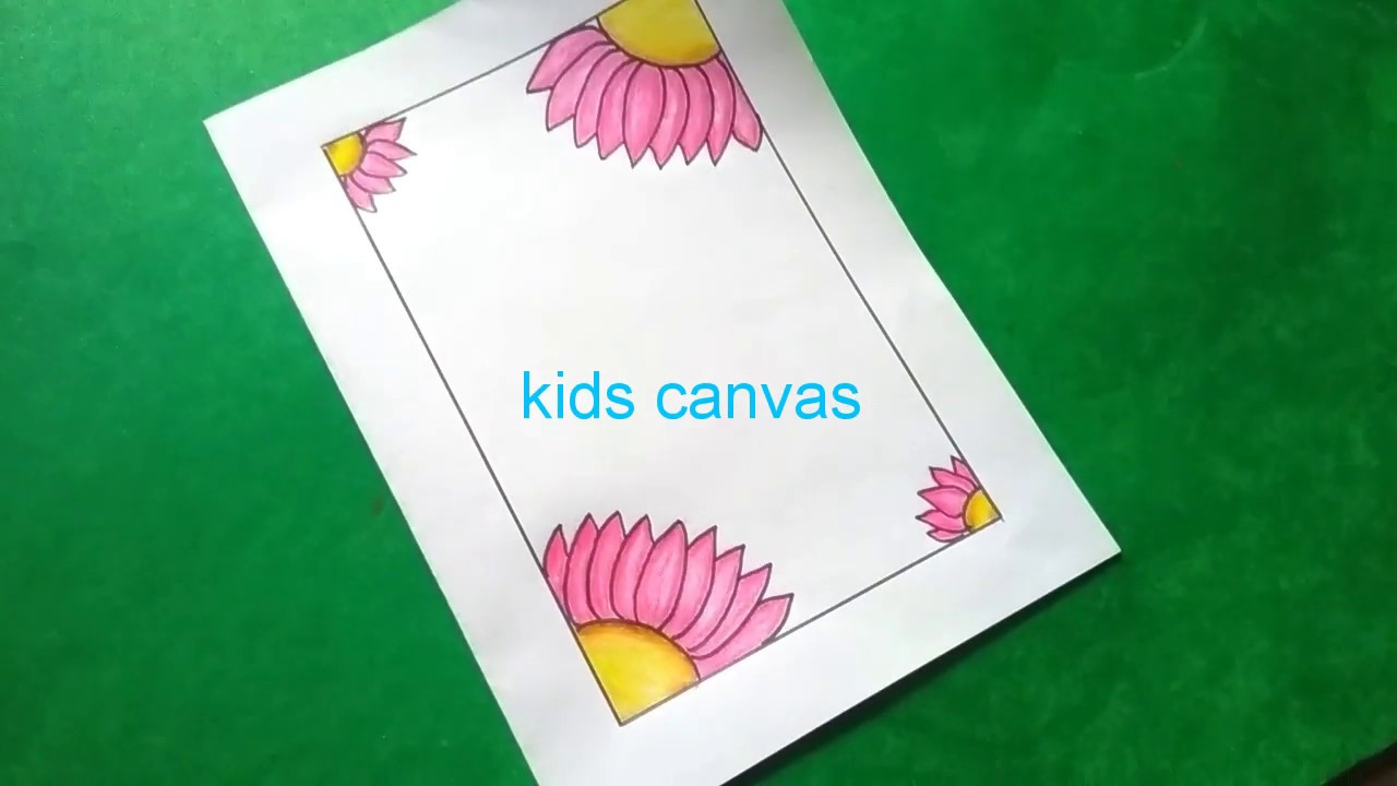How to draw border designs, step by step easy drawing for kids, greeting  card ideas