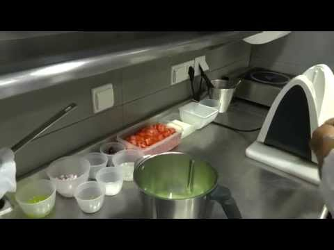 Hiliadaki and Roussos prepare a frozen greek salad at the 2 Michelin Funky Gourmet in Athens