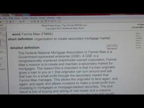 Fannie Mae (FNMA) CA Real Estate License Exam Top Pass Words VocabUBee.com