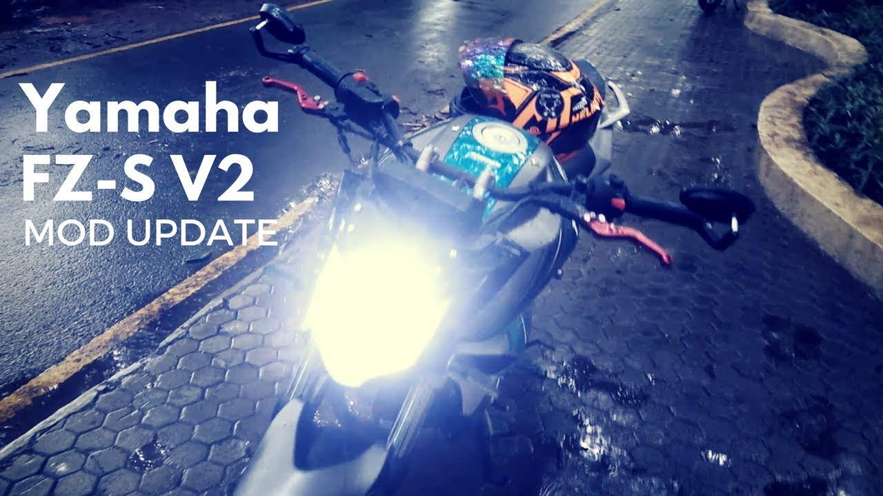 Yamaha fz s v2 modifications part 2 led headlight moxi levers bar end mirrors hazard light