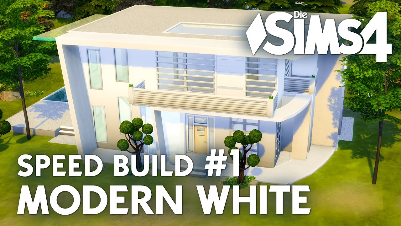 Haus Bauen Die Sims 4 Modern White Speed Build 1 Mit Grundriss Deutsch Youtube