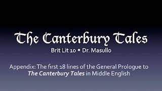 Repeat youtube video The first 18 lines of the General Prologue to the Canterbury Tales in Middle English