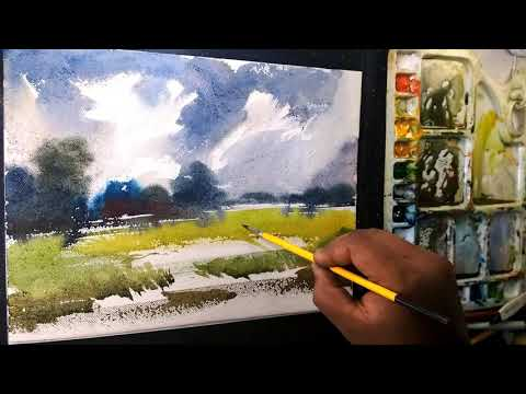 Watercolor Landscape Painting by art explain