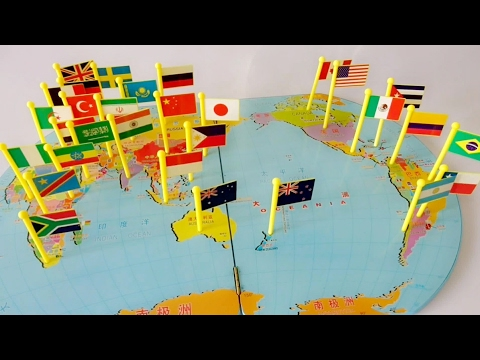 World Flags​ Pin On Map Matching Puzzle.. Small Flags.. Mapboard