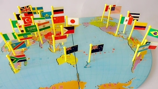 World Flags Pin on Map matching puzzle.. small flags.. Mapboard