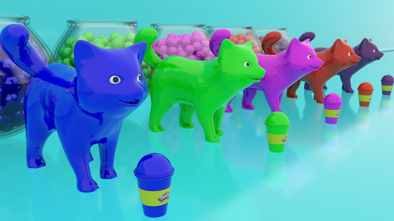 Learn Pot And Baby Dogs - Color Balls With Playdoh - Educational Video For  Kids