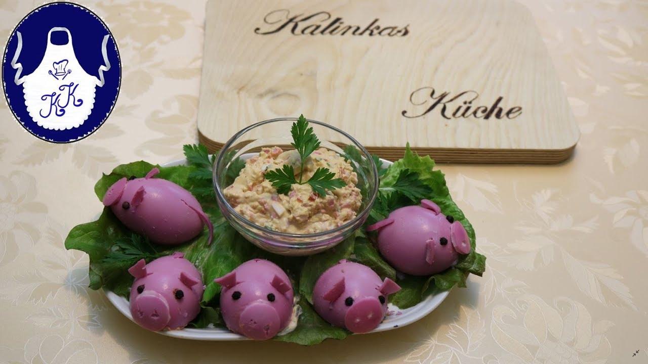 Gefüllte Eier, als Ferkelchen / 2019 ist das Jahr des Schweines ...