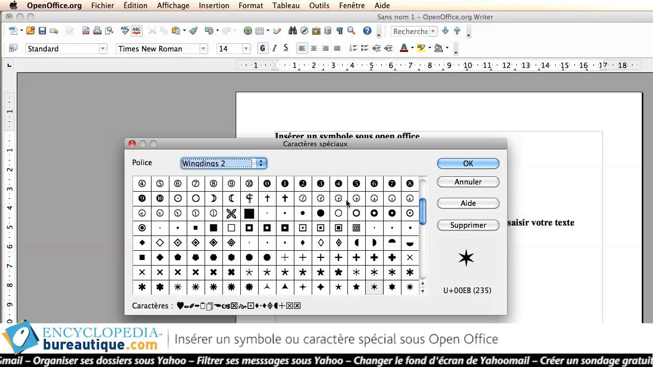 open office - ins u00e9rer un symbole