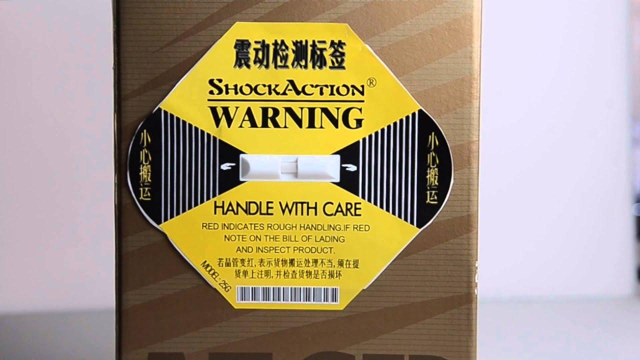 【森威包裝】衝擊指示器 震盪標籤 【簡體/英文 版本】 - YouTube