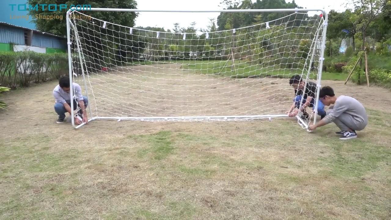Lixada 12\' * 6\' Soccer Goal with PE Net Fastener Tape Iron Frame ...
