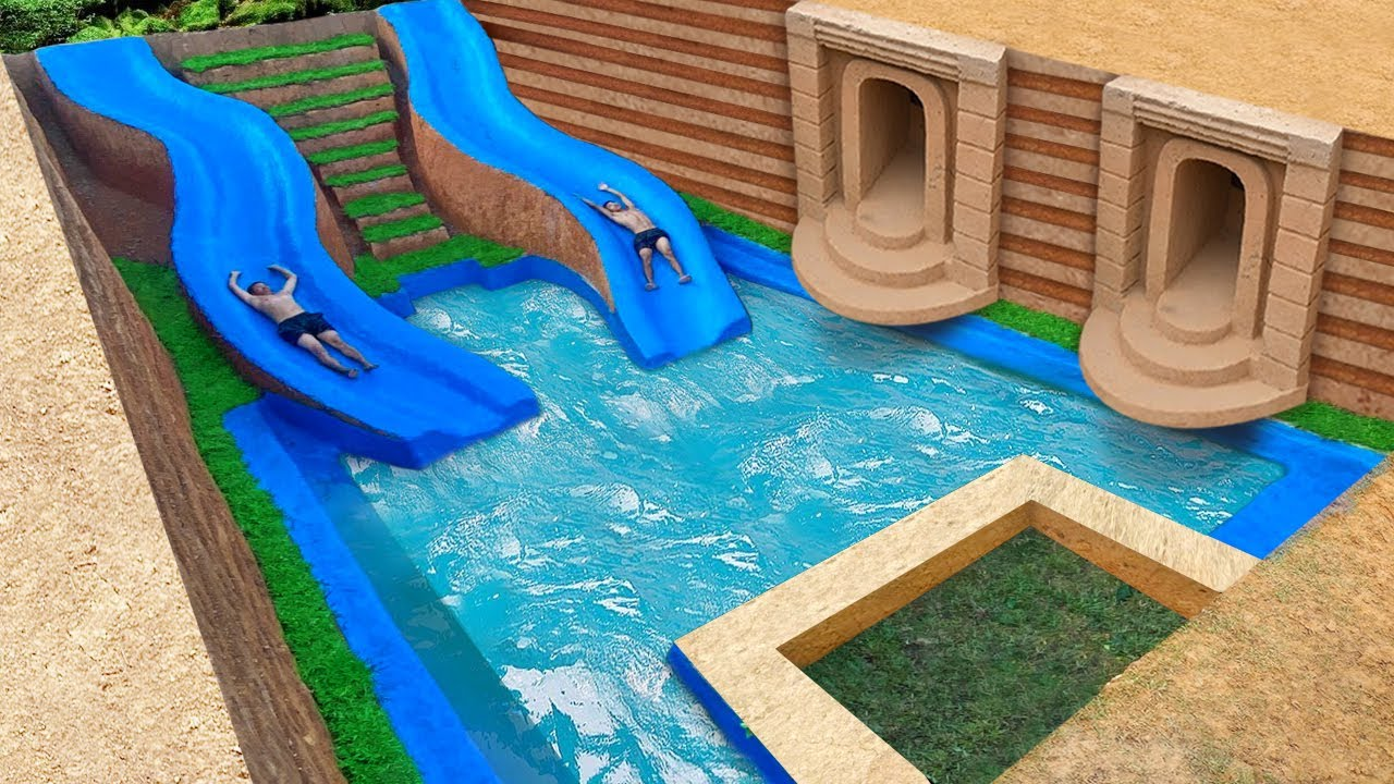 Spend 278 Days To Build A Dream Underground Water Slide Park Temple House