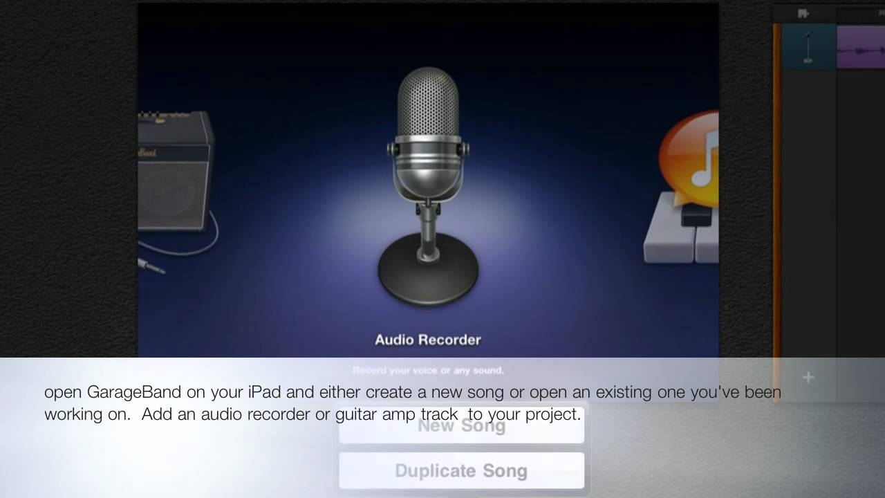 GarageBand App for iPad (Import a  wav ,aiff, mp3 or caf file into a new or  existing song)