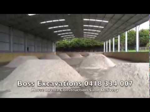 Horse Arena Construction with Synthetic Horse Arena Surface Boss Excavations