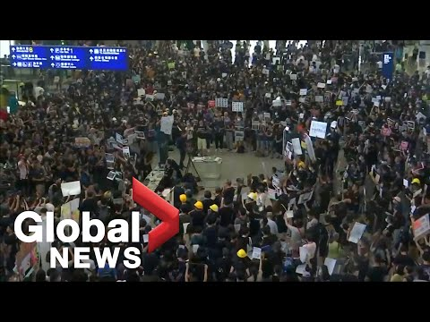 Protest held at Hong Kong airport against recent violence
