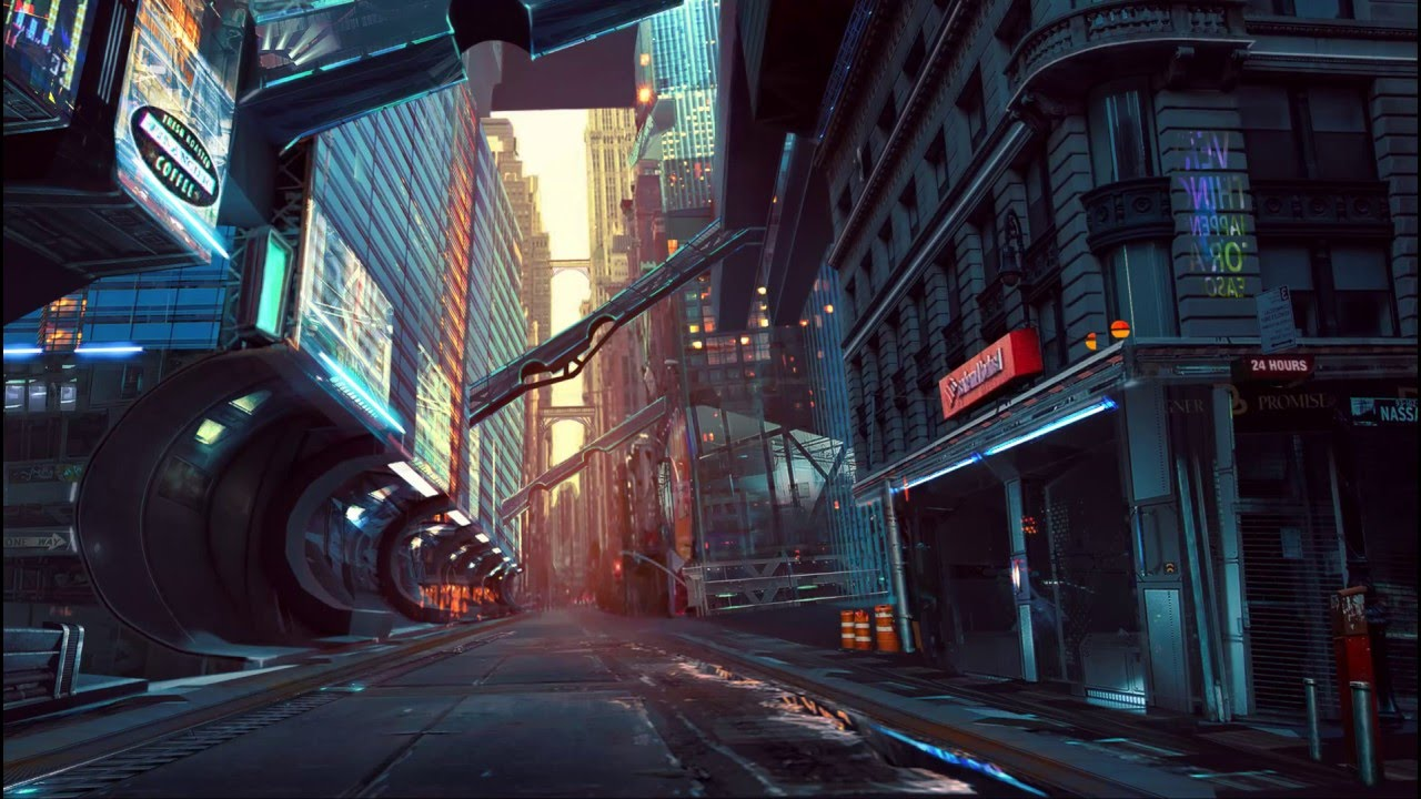 Feature Wall Wallpaper 3d Sci Fi City Alley Game Art Youtube