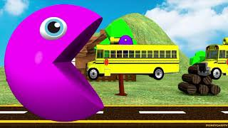 Learn Colors With Pacman Cars and Trucks For Children Kids Compilation