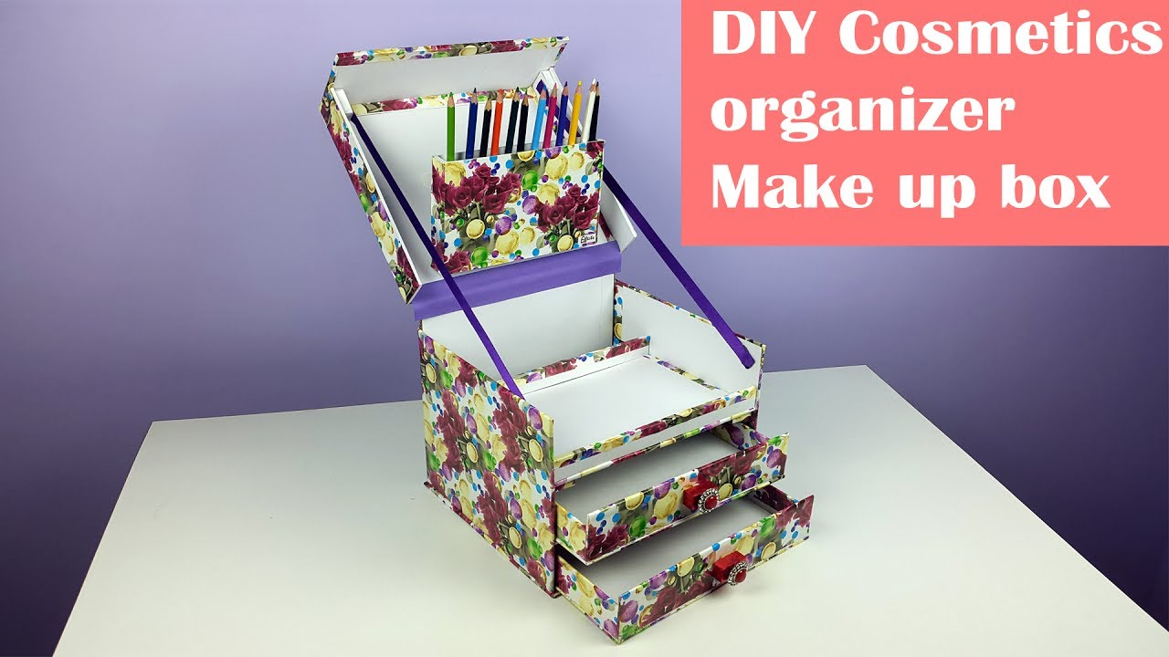 diy make up organizer jewelry box organizer using cardboard youtube. Black Bedroom Furniture Sets. Home Design Ideas