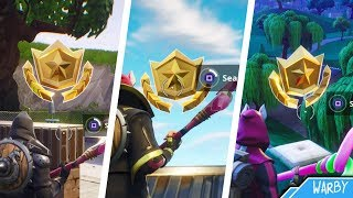 Fortnite Battle Royale - All Season 5 Secret Battle Star Locations Guide (Free Battle Pass Tiers)