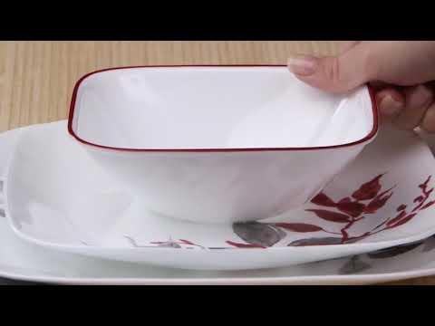 דגם Kyoto Leaves מסדרת SQUARE צלחות קורל מבית קורנינג