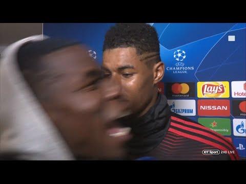 Paul Pogba GATECRASHES Rashford and Lukaku's interview after PSG win