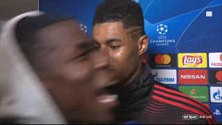 Paul Pogba GATECRASHES Rashford and Lukaku's interview after PSG win