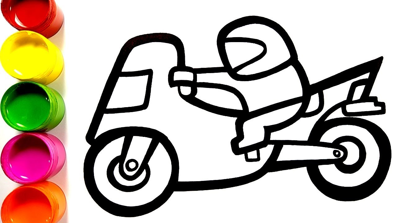Cara Menggambar Dan Mewarnai Mainan Orang Naik Motor