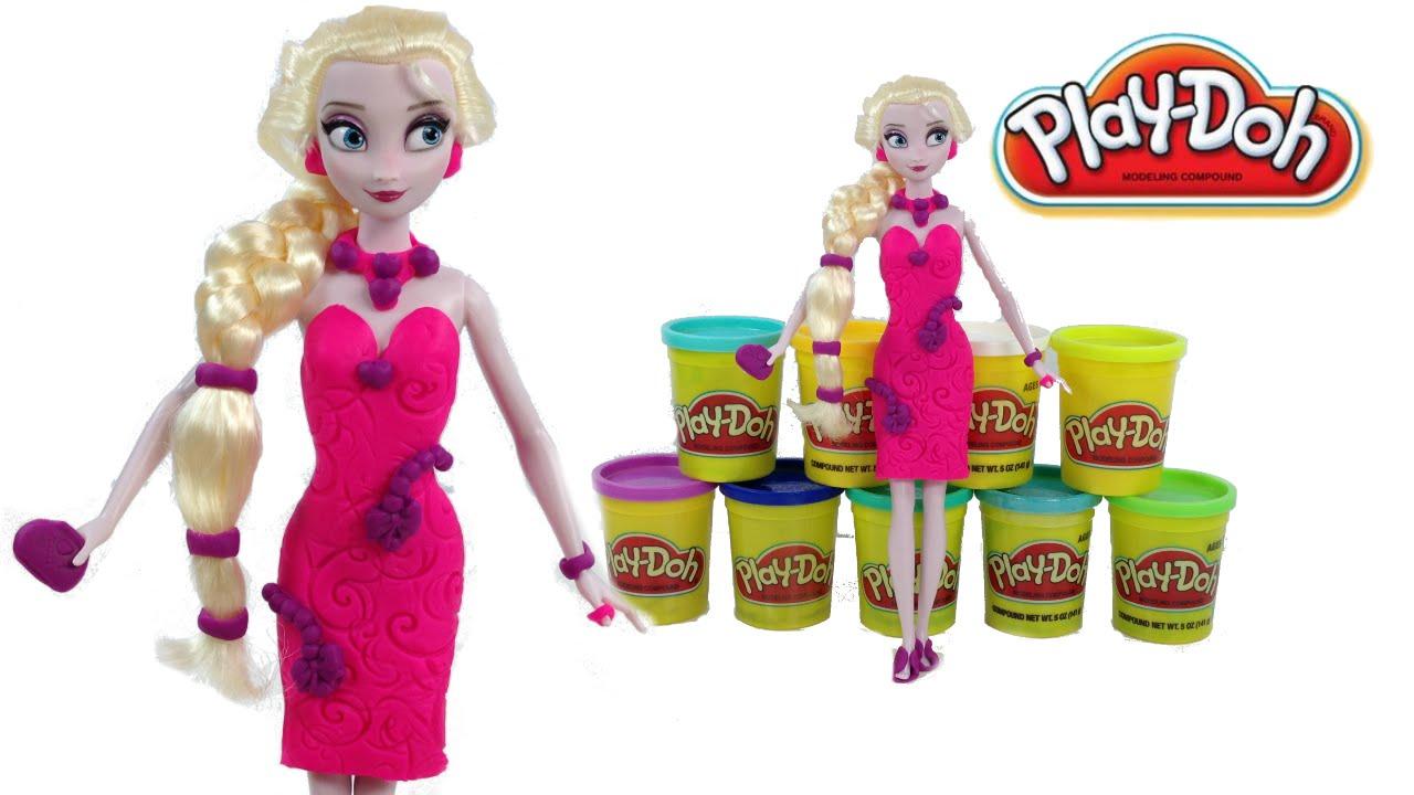 44800bafd2 Play Doh Frozen Elsa Princesa Vestido Plastilina Barbie Party Dress up  Playdough