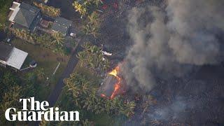 Lava from Kilauea volcano in Hawaii destroys hundreds of homes