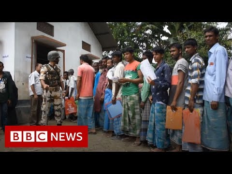 Assam NRC: People queue to check they are on list - BBC News