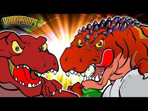 T Rex VS Giganotosaurus - Dinosaur Battles - Dinosaur Songs and Cartoons for Kids from Howdytoons