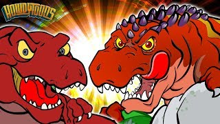 T Rex VS Giganotosaurus - Dinosaur Battles - Dinosaur Songs and Cartoons for Kids from Howdytoons