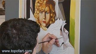 Art Reproduction (de Lempicka - Portrait of Miss Poum Rachou) Hand-Painted Step by Step