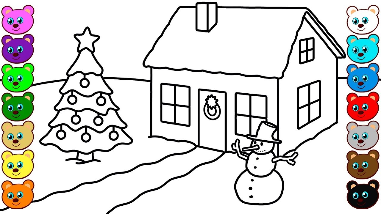 Christmas winter house coloring pages for children