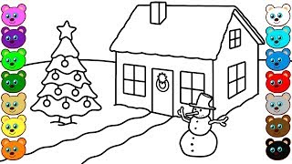 Christmas Winter House - Coloring Pages for Children