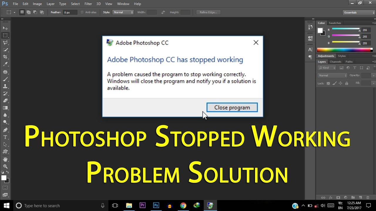 Photoshop CC Crashing Stopped Working Problem Solution | Photoshop Crashing  Problem Fixed