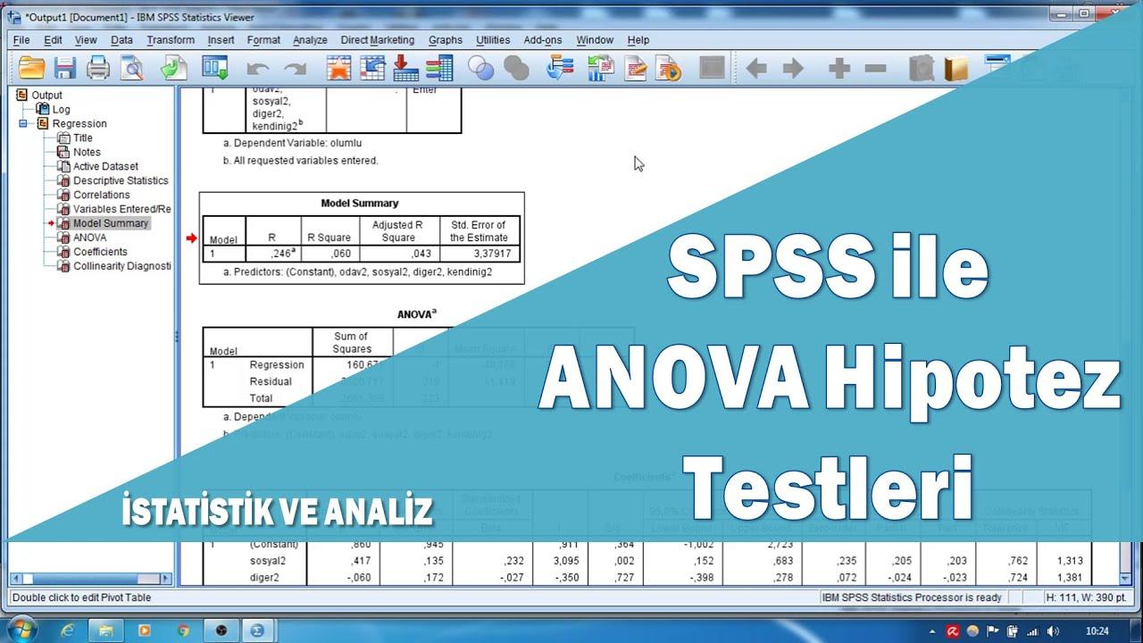 İki Yönlü ANOVA (Etkileşimli) | Çift yönlü ANOVA | SPSS ANOVA testi | ANOVA SPSS tablo yorumlama
