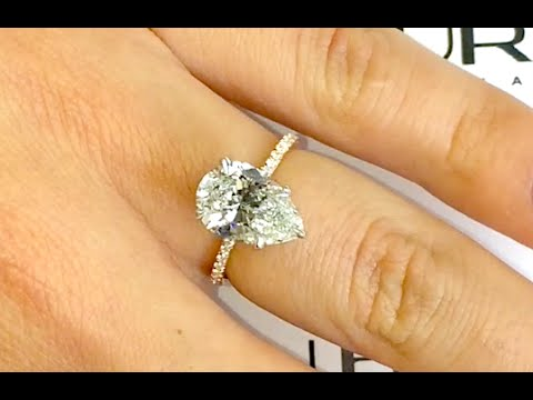3 Carat Pear Shape Diamond Two Tone Engagement Ring