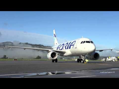 Adria Airways Airbus A319 Landing / Close-Up Taxi-In / Take Off @ Airport Bern-Belp