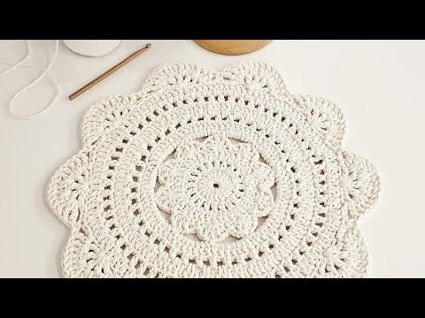 Sousplat de Crochê ou Centro de Mesa em Crochê - Tutorial de Crochê - Crochet Placemat -  Easy Doily