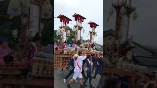 能登町宇出津あばれ祭り、小棚木音羽町新町交差点3台回し2018