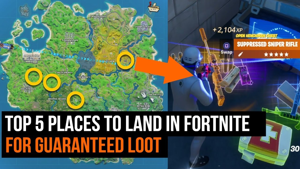 Fortnite Top 5 Places To Land For Guaranteed Loot Chapter 2 Season 2 Youtube