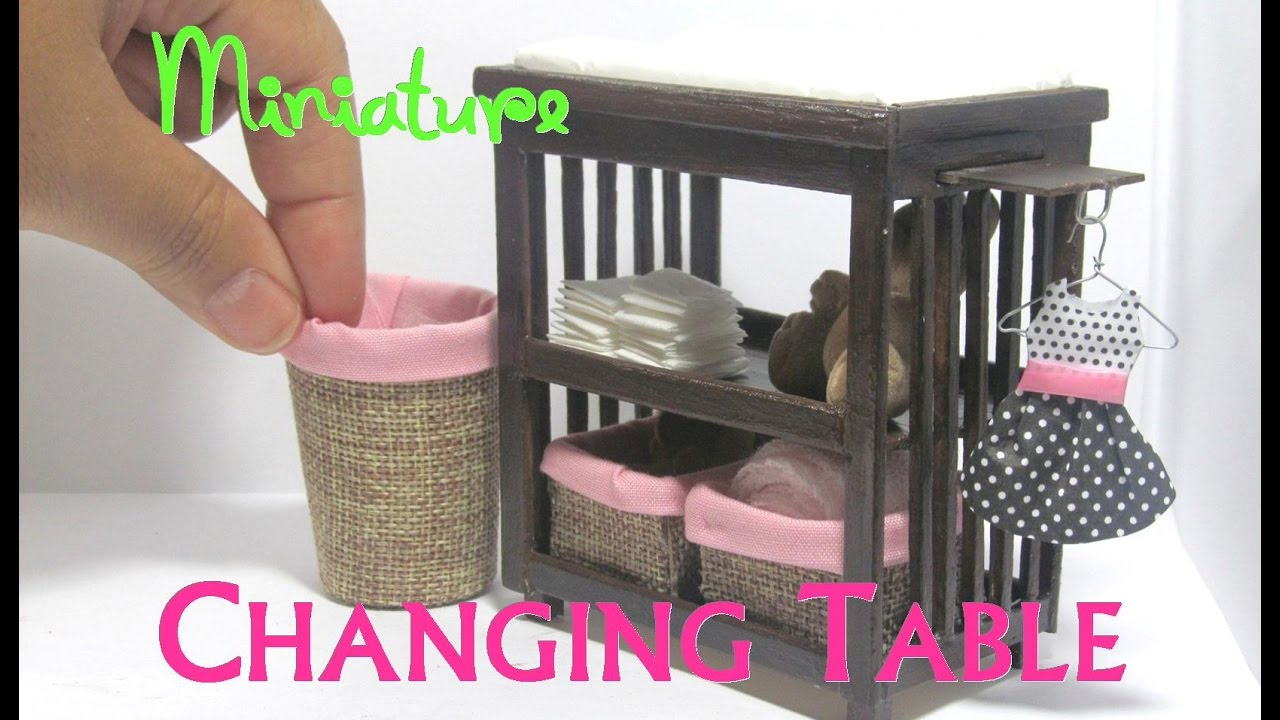 diy changing table and baskets dollhouse furniture miniature furniture baby nursery youtube. Black Bedroom Furniture Sets. Home Design Ideas
