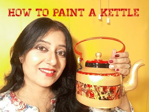 How To Handpaint A Kettle | Tea Kettle Home Decor | Reusing old kettle
