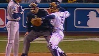 WS1999 Gm3: Girardi throws out speedy Nixon in 9th