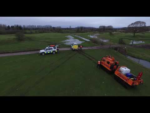Bay Search and Rescue with their Hagglund BV206 all terrain amphibious rescue vehicles