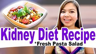 Kidney Diet Recipe - Healthy Pasta Salad w/ Mackerel Cauliflower Bell Pepper