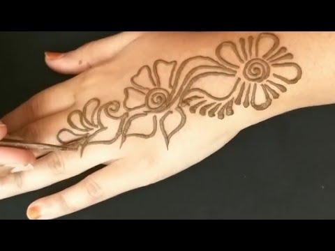 easy simple mehndi henna design tutorial/mehndi design for hands beginners thumbnail